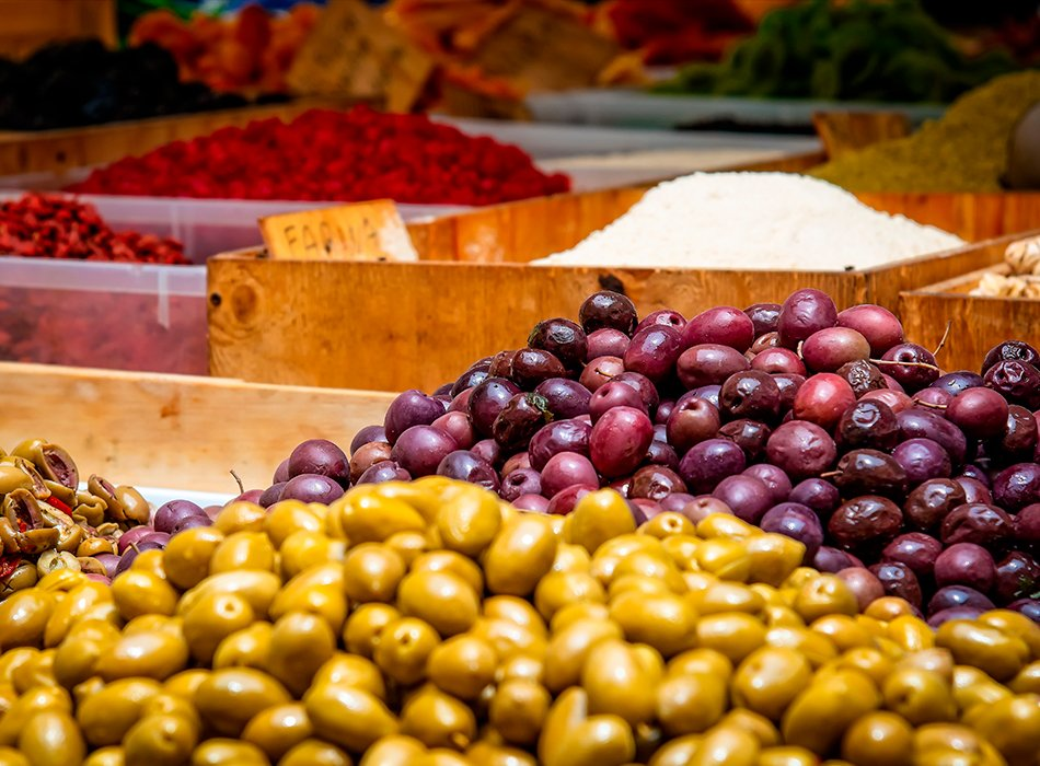 Olives in street market