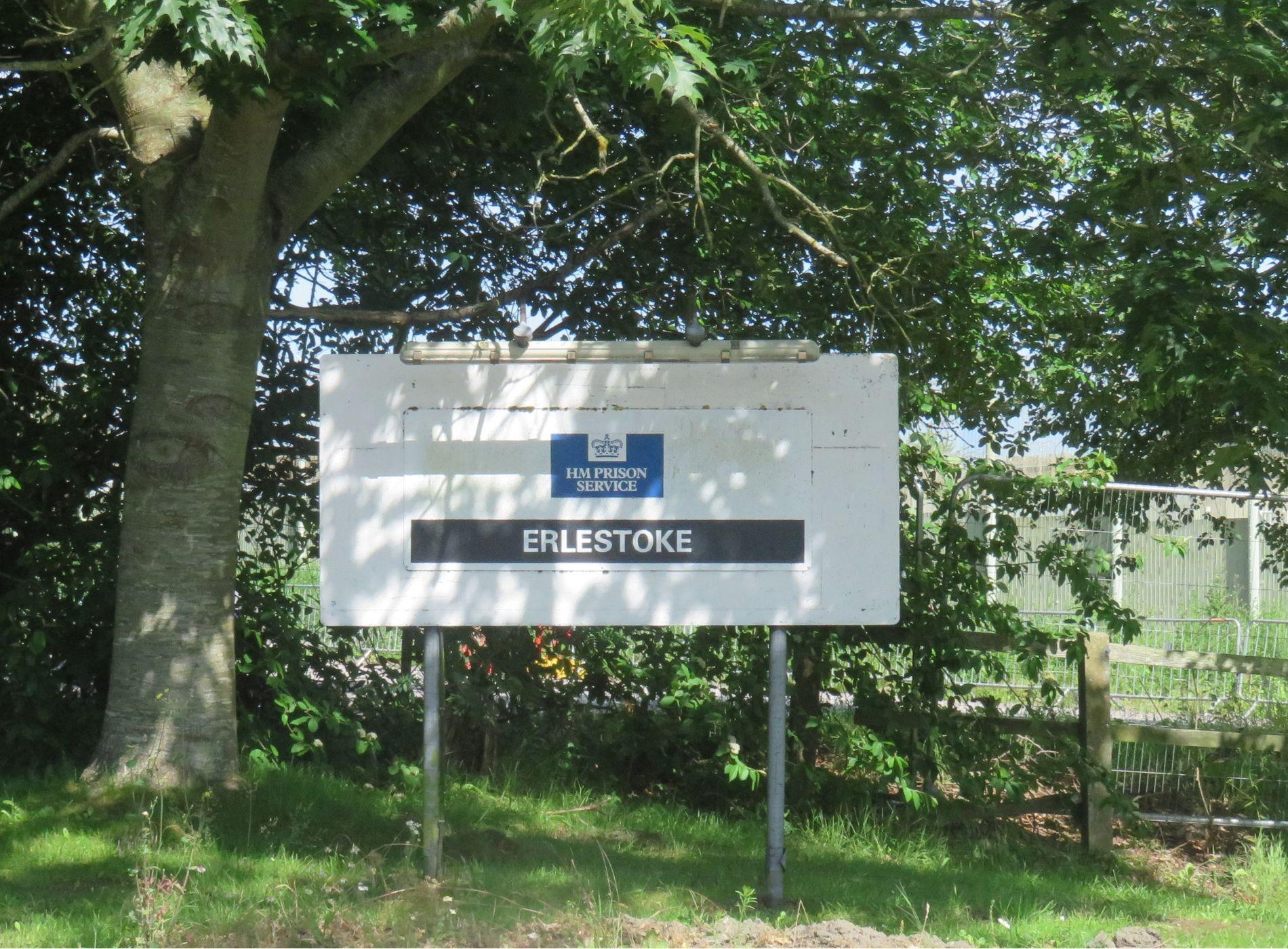 Erlestoke Prison sign