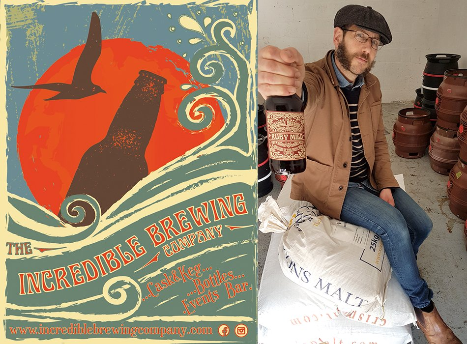 Incredible Brewing Company - label and man with beer bottle