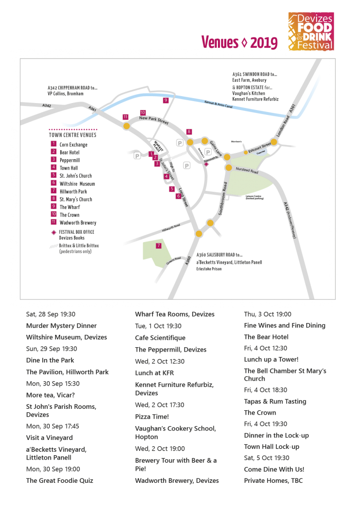 Devizes Food & Drink Venues Map