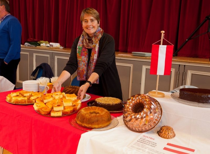 Austrian food stall - woman with cakes in Devizes Corn Exchange