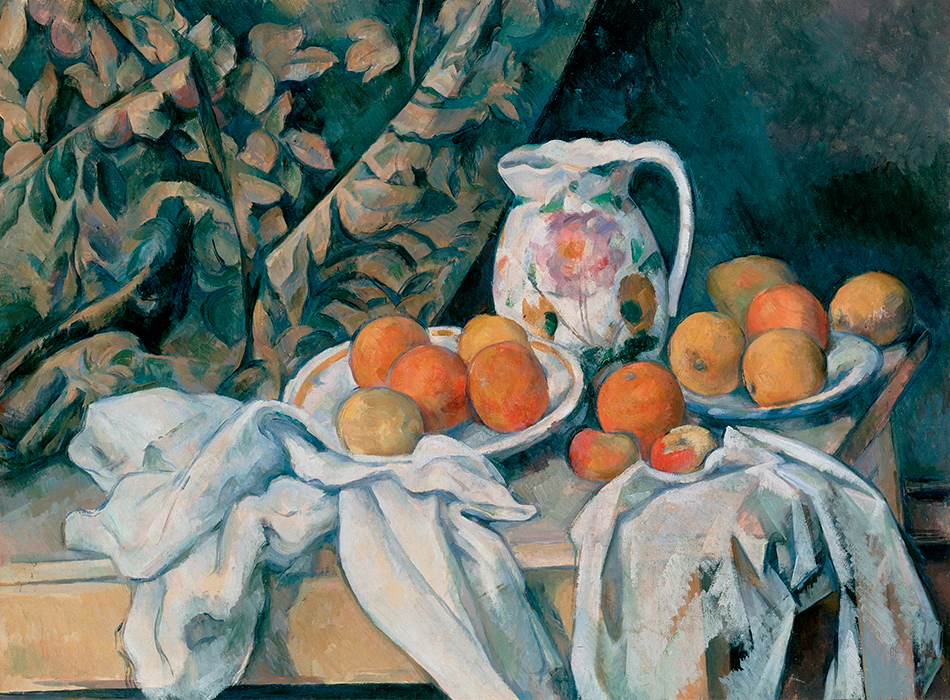 Still Life with fruit, jug and a curtain - Paul Cezanne